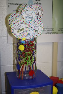 """Birthday gift for each student is made and ready to hand out on day 1 of school.  These are paper balloons that say """"Hip Hip Hooray! Today's your Birthday!"""".  Follow link to get printout for balloon from Mrs. H. At Once upon a first grade adventure."""