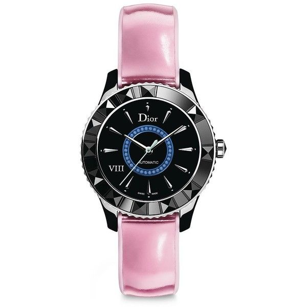 Dior VIII Limited-Edition Sapphire, Black Ceramic & Leather Automatic... ($8,210) ❤ liked on Polyvore featuring jewelry, watches, apparel & accessories, bezel watches, water resistant watches, buckle bracelet, sapphire bracelet and automatic watch