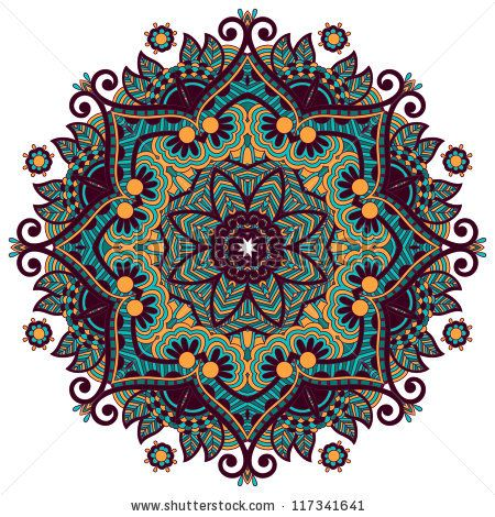 Circle ornament, ornamental round lace - stock vector