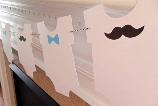 Party Banner: Little Man Bow Tie and Mustache Onesie Garland - Baby Shower or Birthday Party die cut mustaches ties.