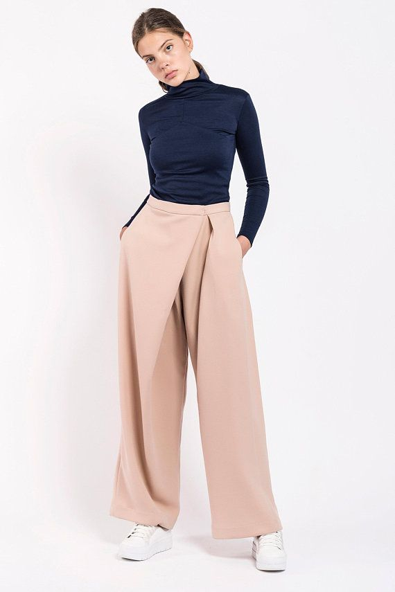 Women Fashion Wide Leg Pants Chiffon High Waist Plain Loose Pants Trousers