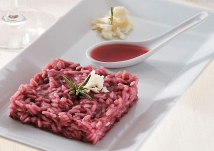 Risotto al Barolo e Castelmagno-made with Barolo wine and Castelmagno cheese, this is a prized dish of northern Italy!