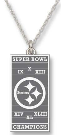 "Pittsburgh Steelers 6 Time Super Bowl Champions 1/2"" Vertical Field Pendant on 18"" Chain - Sterling Silver Jewelry by Logo Art. $51.00. Enjoy this official NFL licensed Pittsburgh Steelers pendant. A great gift for any Pittsburgh Steelers fan!Express your team pride with jewelry items from LogoArt®.PendantSize: 1/2""Sterling silver finishExpress your team pride with jewelry from LogoArt®. LogoArt® pendants are available in 14KT and 10KT gold, sterling silver and gold p..."