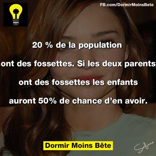 20% de la population ont des fossettes. Si les deux parents ont des fossettes, les enfants auront 50% de chance d'en avoir.