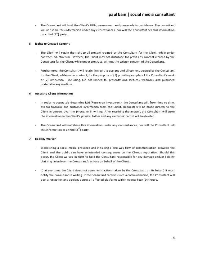Social Media Management Contract Template Awesome Social Media