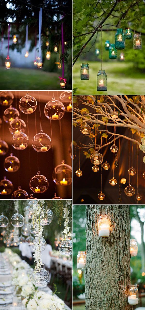 Country/rustic hanging candle decorations. Cute ideas for outdoor weddings!