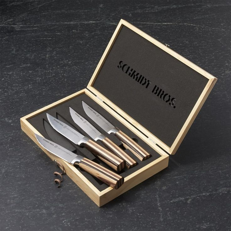 Schmidt Brothers ® Farmhouse Blend Jumbo Steak Knives Set of Four - Crate and Barrel