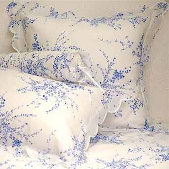 D. Porthault Jete de Fleurs Blue---probably cost more than our bedroom suite-but sooo nice.....