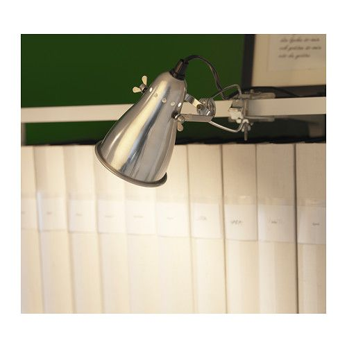 $9.99  FAS Clamp spotlight IKEA Adjustable head makes it easy to direct the light.