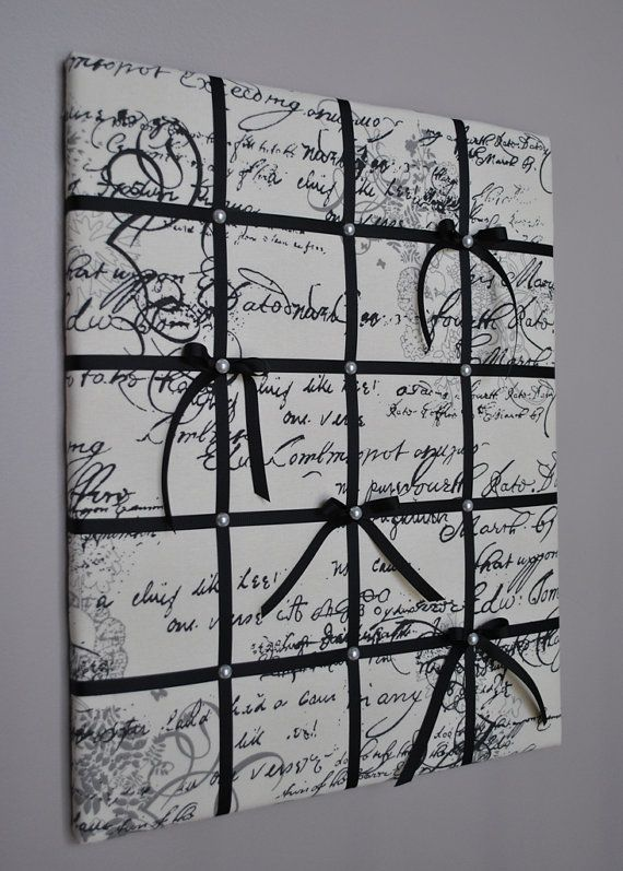 This romantic memo board in natural off-white with black and grey script is accented with black ribbon and white faux pearls. It can be used as a memo board to display your notes and favorite mementos, or as wall art just on its own. Perfect as bedroom decor!  Size: approx. 16in wide x 20in high (40cm x 50cm)  My memo boards and fabric pictures are carefully handcrafted using high quality materials, with generous batting for added softness and texture. All my boards are light weight, with…