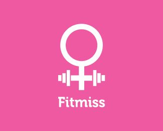 """Fitmiss logo combines two shapes: barbells and female sex sign. Of course, barbells shape stands for the """"fit(ness)"""" part, and the female sex sign stands for """"miss""""."""
