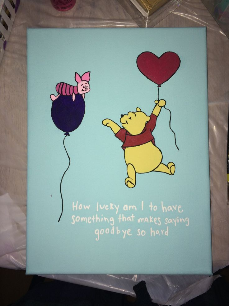 Winnie the Pooh and Piglet too Canvas painting 9x12 by CaitsCanvasCreations on Etsy