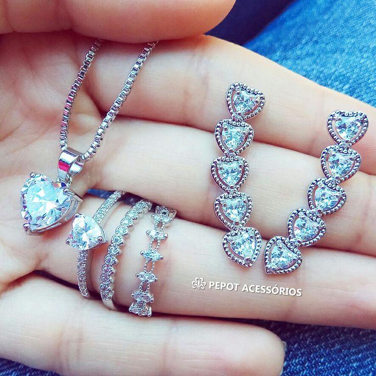 Brincos, colares e anéis de diversos modelos ❤ Confira todos em nossa loja http://pepot.com.br/ #brincos #colares #anéis #bijuterias