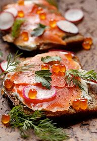 Radishes and salmon roe are classic garnishes for smoked salmon smorrebrod.