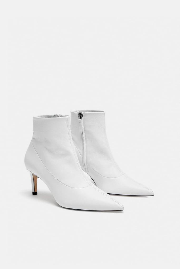 Zara Leather High Heel Ankle Boot High Heel Boots Ankle Mid Heel Ankle Boots Heeled Ankle Boots