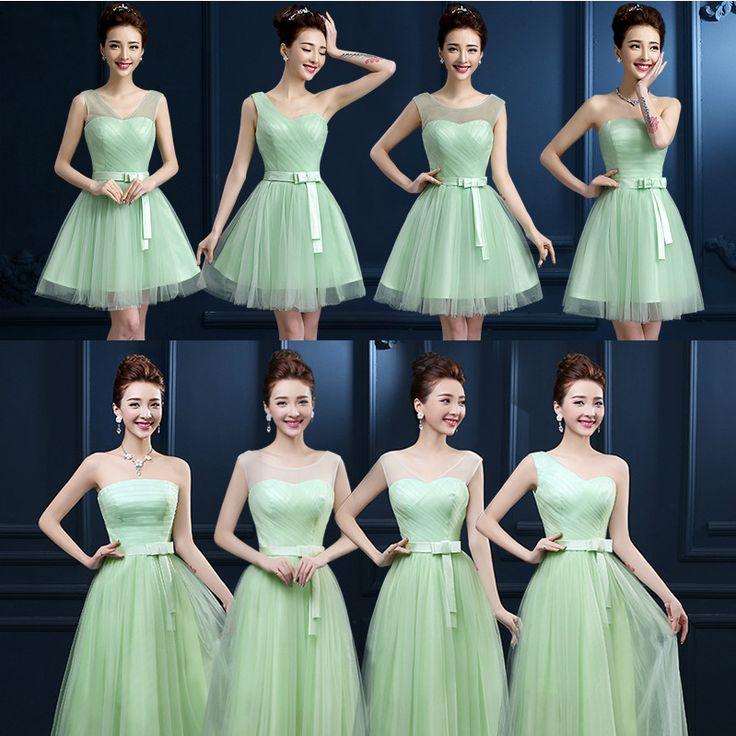 Verde menta De dama De honor vestidos De tul transparente hombro plisado Mint vestidos partido Vestido De Festa barato dama De Under 50 vestidos para festa vestidos para festa de casamento