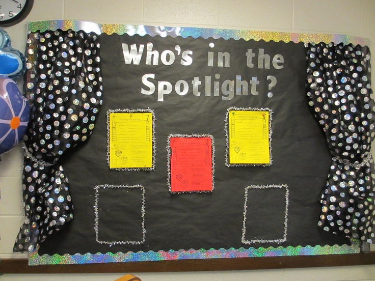 """Who's in the Spotlight Bulletin Board.  I always find """"buried treasure"""" when looking through my fabric drawer! (I originally bought this on clearance after Halloween).  Used silver beaded Christmas garland for tie-backs and for the frame around the spotlight sheet.  Border and letters from learning store.  Easy and fun."""