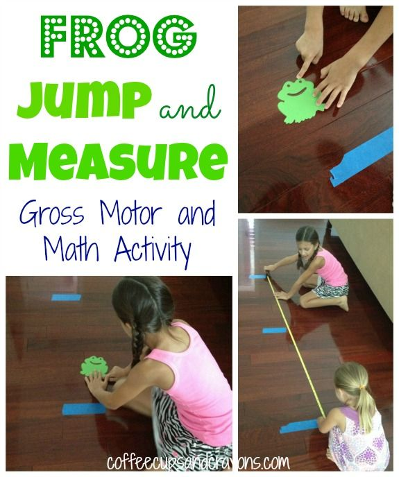 Frog Jump! A math measurement and gross motor and activity. I'm thinking we could adapt this by using those plastic jumpy frogs/bunnies and measure the distance.