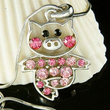 Swarovski crystal Pink PIG Piggy Piglet Charm Pendant by Kashuen, not for me but supper cute.