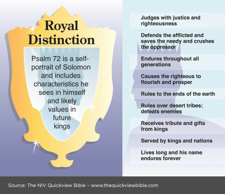 PSALM 72 is a self-portrait of Solomon and includes characteristics he sees in himself and likely values in future kings.
