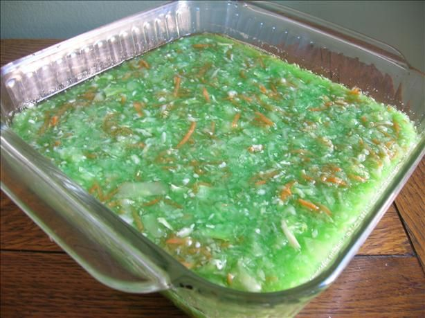Lime Jello Cabbage Salad from Food.com: This Jello salad is a tradition in our family to serve with ham or pork. It has shredded cabbage and carrots in it which give it a nice crunch. My Mom always served it when I was a kid and she can't remember where she got the recipe from. My kids love it. You can make with with regular or sugar free jello.