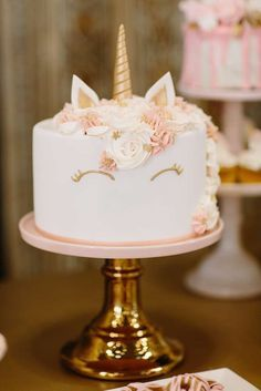 Loving the glamorous Unicorn cake at this incredible Baptism Party!! See more party ideas and share yours at CatchMyParty.com #cake #unicorn
