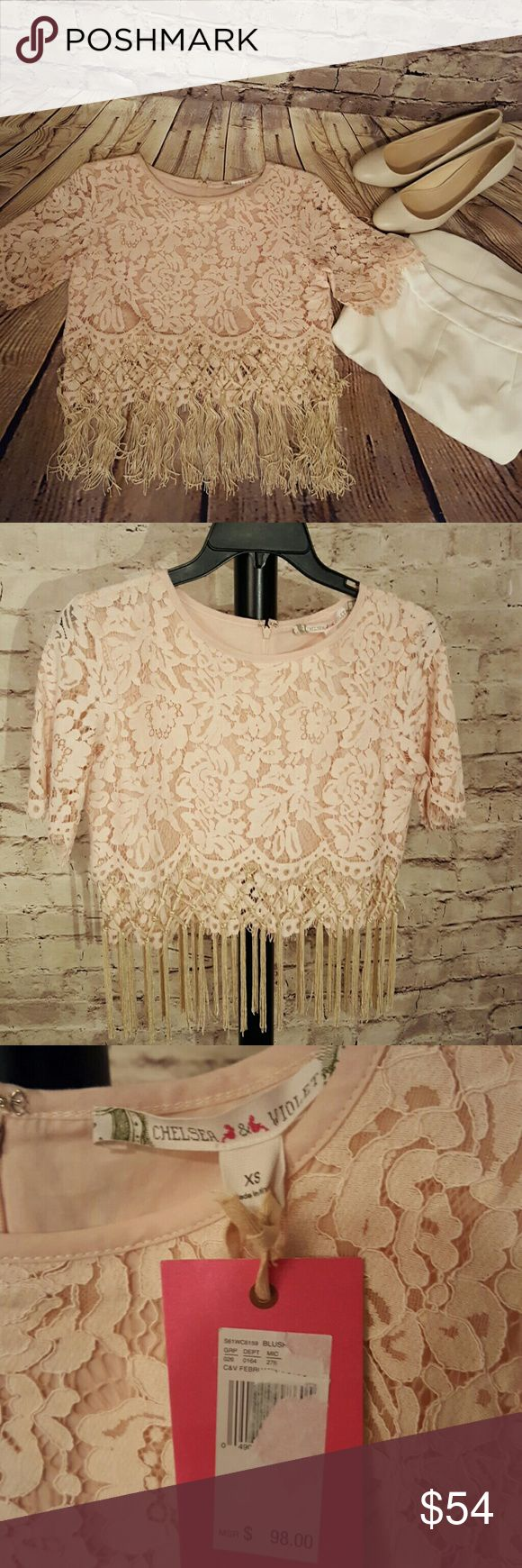 Chelsea & Violet fringe top size XS Blush lace over blush cotton lining. Hidden zipper in back Chelsea & Violet Tops Blouses