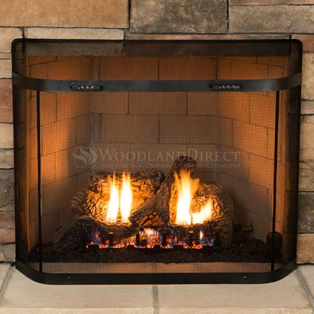 sparkguard curtain brick fireplace anew normandy doors spark mesh guard