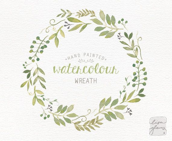 Watercolor wreath: painted floral wreath by LisaGlanzGraphics