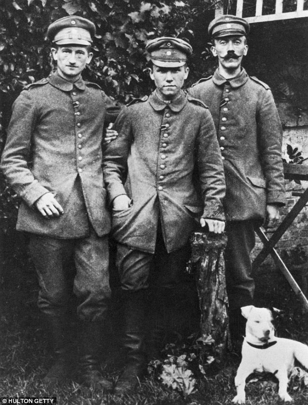 Hitler (on the right) during his military service some time between 1916 – 1919