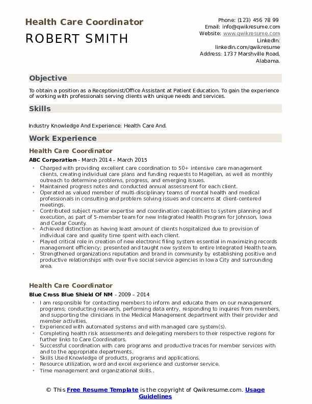 Health Care Coordinator Resume Samples Patient Education Health Care Resume