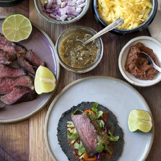 Homemade blue corn tortillas wrapped around crunchy vegetables and ...
