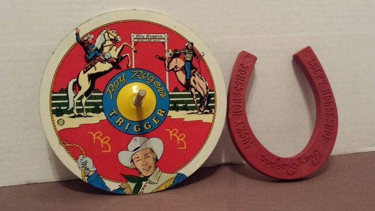 vintage+1950+60,s+ohio+art+Roy+Rodgers+horseshoe+set+parts+tin+litho!+