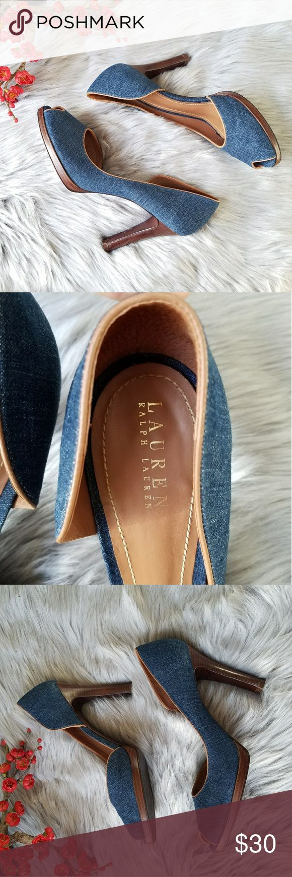 Ralph Lauren Peep Toe Denim Heels Ralph Lauren peep toe and open side denim heels. They are in perfect condition but they have been worn as the soles can show(see pictures). Other than the soles the shoes are in neat condition! Ralph Lauren Shoes Heels