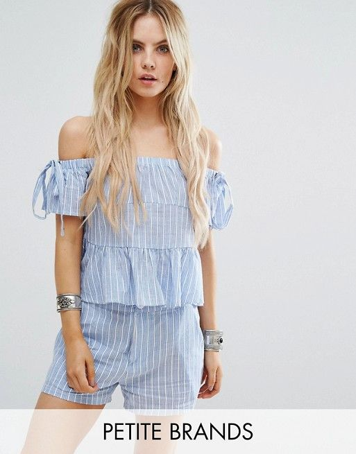 Missguided Petite Stripe Bardot Top blue asos