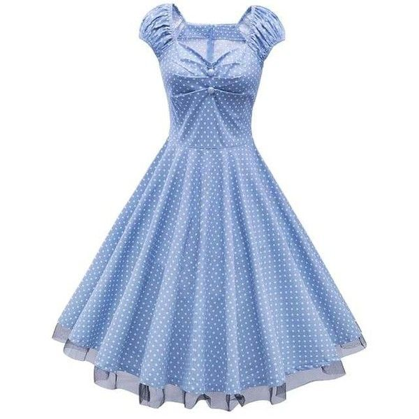 Polka Dot Party Cap Sleeve Lace Trim Dress ($18) ❤ liked on Polyvore featuring dresses, blue cap sleeve dress, cap sleeve dress, cocktail party dress, going out dresses and night out dresses