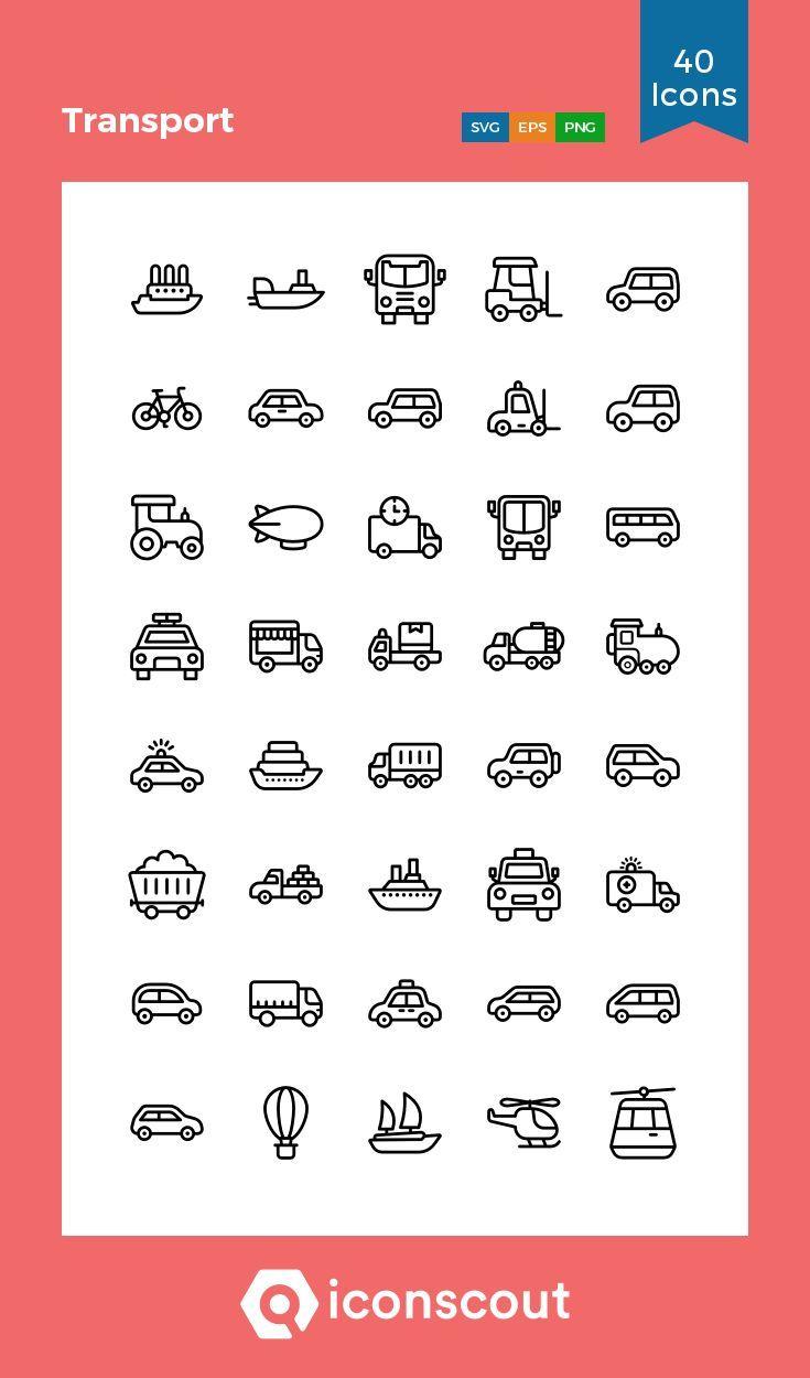 Icon Pack 40 Liniensymbole Vehicle