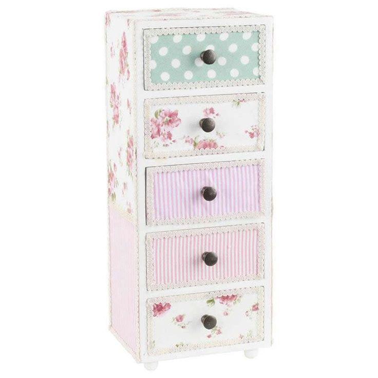 For her. Μόνο για κυρίες: μπιζουτιέρα με 5 συρτάρια από ξύλο και ύφασμα για να τακτοποιήσετε τα κοσμήματά σας