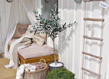 wpc terrassen mit DIY liegesofa mit baldachin und seilleiter terrassendeko