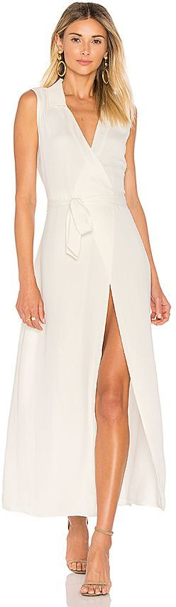 L'Academie The Sleeveless Wrap Dress in Ivory | fashion style for women entrepreneurs
