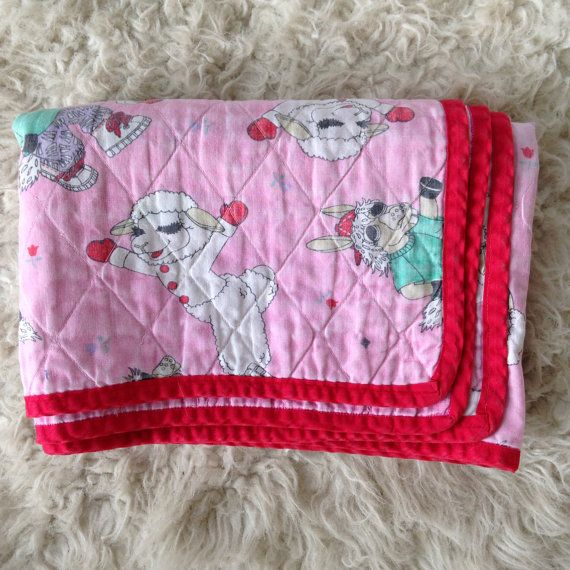 Vintage baby quilt cartoon lamb on Etsy, $18.00