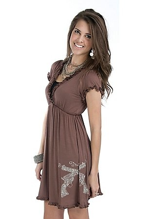 Cowgirl Hardware Ladies Brown w/ Silver Studded Pistols Short Sleeve Dress