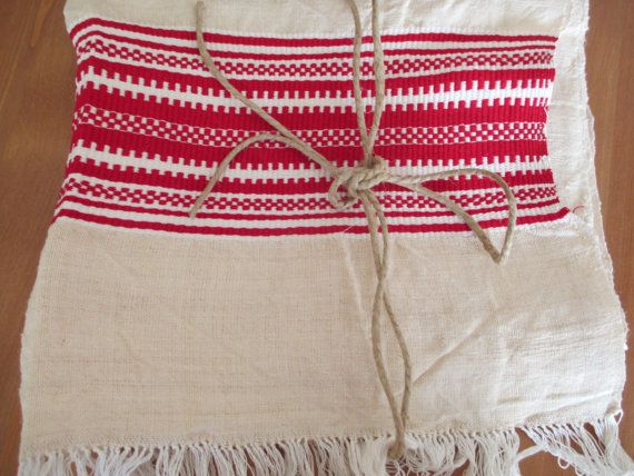 124. Flax linen towel vintage organic linen towel hand