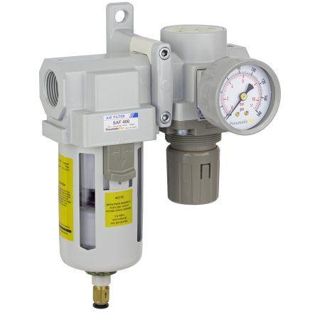 PneumaticPlus SAU420-N06DG Compressed Air Filter Regulator Combo 3/4 inch NPT - Poly Bowl, Auto Drain, Bracket, Gauge