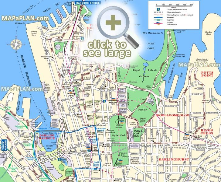 points interest main landmarks great sights most popular locations tourist information centre Sydney top tourist attractions map