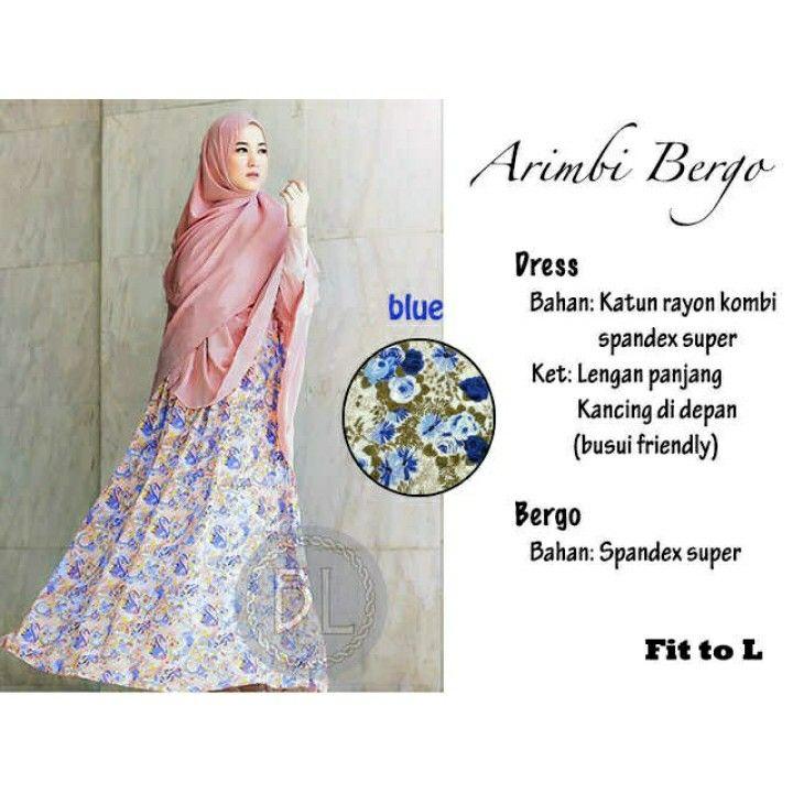 Arimbi Bergo blue   _20 bhn katun rayon(motif bunga) kombi spandex super,fit to L 103.000 IDR (sf)