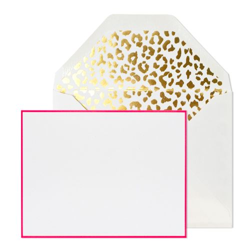 GOLD LEOPARD + PINK NOTE SET: Leopards Notecard, Flats Cards, Notecard Sets, Cards Sets, Note Sets, Sugar Paper, Note Cards, Sassy Note, Paper Ideas