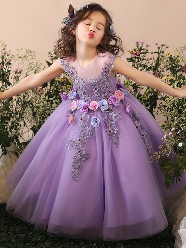 Handmade Flower Embroidery Tulle Fluffy Princess Long Dress