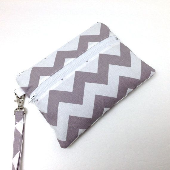 iPhone Wallet Wristlet Gray Taupe Chevrons by LMcreation on Etsy