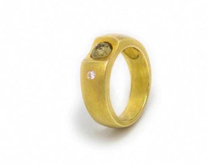 18k gold citrine ring, Engagment ring, Diamond ring, Bridal ring, Classic gold ring, Gold citrine band, November birthston, Engagement band